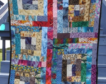 small blanket lap quilt throw Rainbow cabin lap quilt geometric colorful ooak cotton handmade