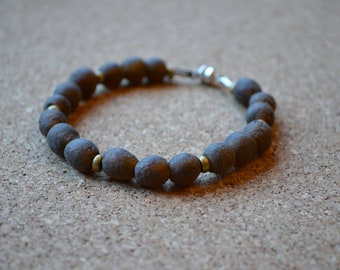 Recycled Glass Bracelet, Rustic African Glass and Brass Beads, Magnetic Clasp