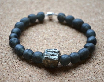 Glass Bead Bracelet, Recycled African Glass Beads and Iron Pyrite, Black,  Magnetic Clasp