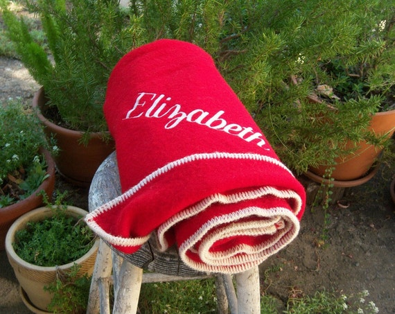 Vintage red wool blanket // Elizabeth // monogram camp blanket