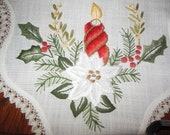 Christmas Vintage Decorative Table Center Cloth Beutiful embroidered image    M017