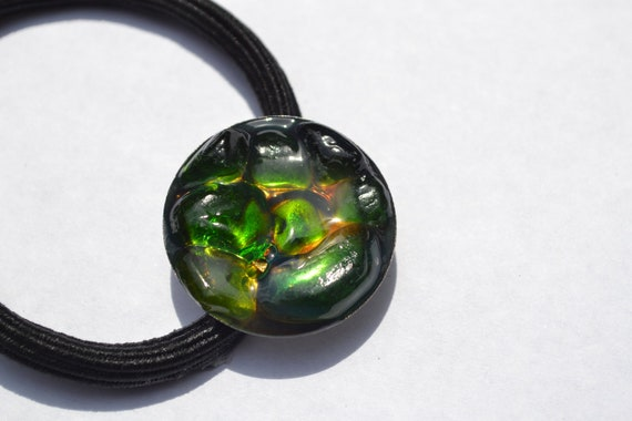 Genuine Sea Glass Ponytail Holder -Green