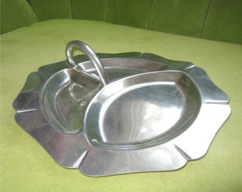 Vintage Early American Pewter Devided Plate