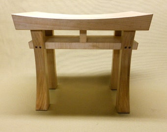 Asian Style Stool Bench Seat  Made to Order Maple, Oak, Cherry, Walnut, or Mahogany (size small)