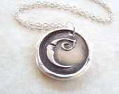 Wax seal initial necklace monogrammed jewelry pendant hand made from eco friendly recycled silver in any letter of the alphabet