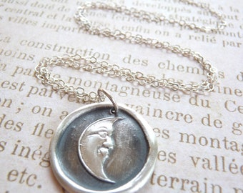Moon pendant wax seal necklace made from recycled fine silver for Valentine's day