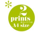 SALE Set of 2 screen prints A4 size you choose