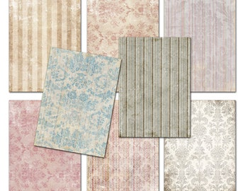 Damask Shabby chic  Wallpaper Vintage papers 3.5 x 2.5   Gift tags,  ACEO cards, Printable Digital Collage Sheet to Download and Print 151