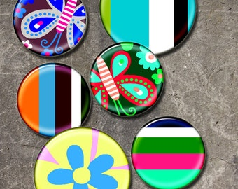 Stripes bright  colorful  flowers children circles 1in and  2 in -  Digital Collage Sheet, Download for Resin Pendant, Round Circle ( J11)