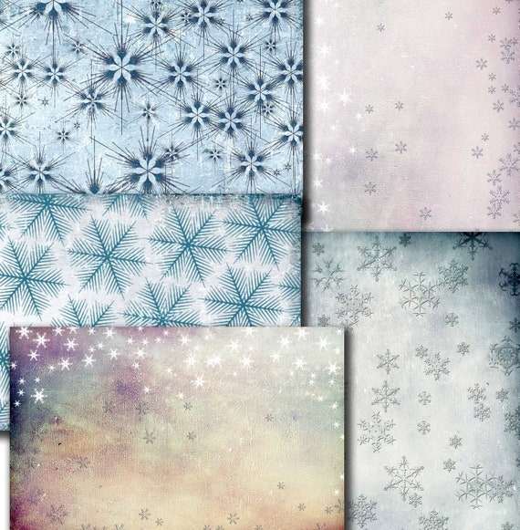 Wrapping Christmas Gift papers 5 Printable digital papers, snowflakes,  scrapbook ,  Digital Collage Sheets   (Tp16)