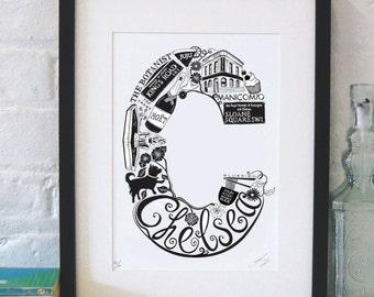 Best of Chelsea - London print - London poster - London Art - Typographic Print - London illustration - letter art - South London poster