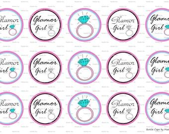 """15 Glamor Girl Digital Download for 1"""" Bottle Caps (4x6)"""