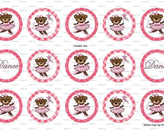 "15 Ballerina Bear Digital Download for 1"" Bottle Caps (4x6)"