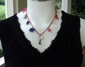 Handmade gumball charm choker: grapes, astronaut, skeleton key pirate ship, baseball tea pot coffee