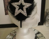Black Feather Headband with a Large Crystal Rhinestone Star for a Special Occasion, Party, or Just for Fun