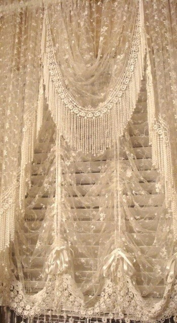 Shabby Chic Victorian Style Lace Valance Antique White also available in Vintage Cream color