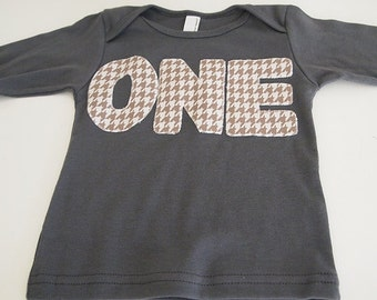 Grey and White Checkered Houndstooth Childrens Shirt Birthday Tee Organic Shirt Blend first second birthday