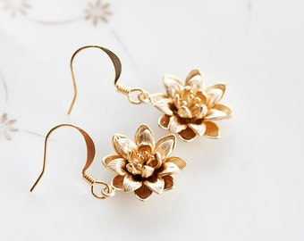 Flower Dangle Earrings Floral Charm Blossom Jewelry Gold Flower Earrings Bloom Flower Jewelry - E203