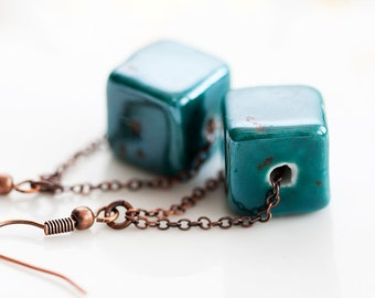 Teal Cube Stone Earring Blue Gemstone Copper Chain Earrings Unique Pattern Smooth Stone Jewelry - E208