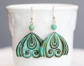 Flourish Charm Patina Earrings Verdigris Ornament Drop Mint Earrings Turquoise Art Deco Earrings - E217