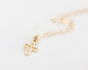 Tiny Cross Necklace Simple Cross Charm Religious Necklace Delicate Cross Jewelry Petite Cross Pendant - N264