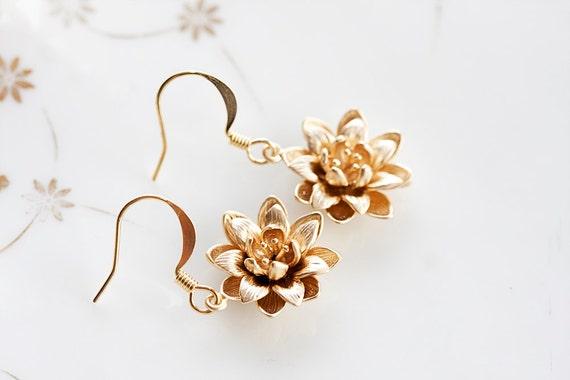 Flower Dangle Earrings Floral Charm Blossom Jewelry Gold Flower Earrings Bloom Flower Jewelry - E203