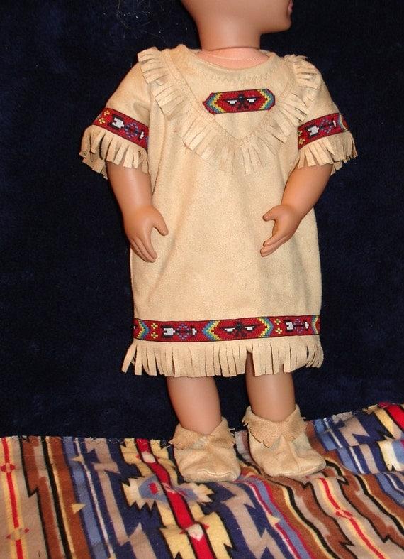 "Native American Fringed Dress, Mocassins & Blanket Set Fits American Girl or Similar 18"" Doll"
