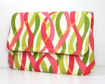 SALE - Clutch - Coral and Green on Cream with 2 Interior Pockets - Ready to Ship