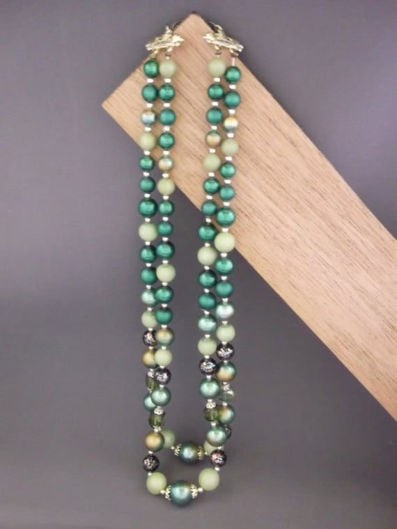 Shades of Green Bead Necklace - Green Bead Necklace - Green Necklace - Green Double Strand Necklace