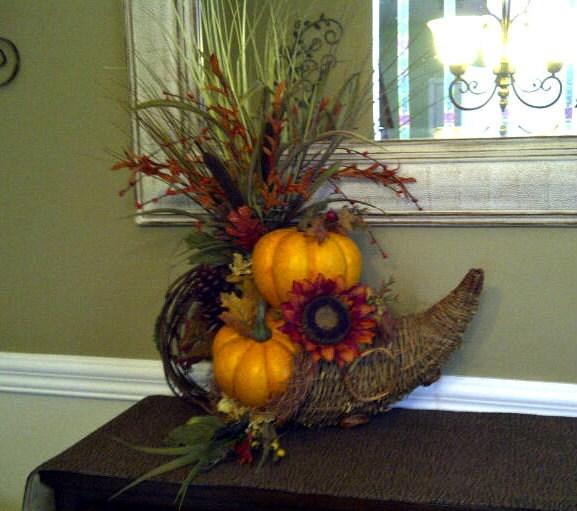 Rustic Fall Cornucopia Floral Arrangement