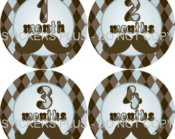 Monthly Baby Boy Milestone Stickers PRECUT Bodysuit Precut Baby Month Growth Stickers Plus FREE Gift Mustache Moustache Blue Brown Argyle