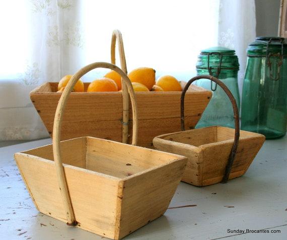 Set of 3 Vintage Wood French Farm Fruit Baskets