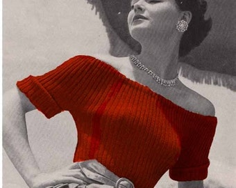 1950s Vogue Evening Sweaters VINTAGE KNIT PATTERN, Off The Shoulder Bardot/Hepburn 2 Tops, Retro Easy Make Pdf from GrannyTakesATrip  0156