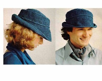 Fedora/Pork Pie Hat 1970s VINTAGE CROCHET PATTERN, Boho Hipster Brimmed hat, Unisex, Instant Download Pattern from GrannyTakesATrip  0158