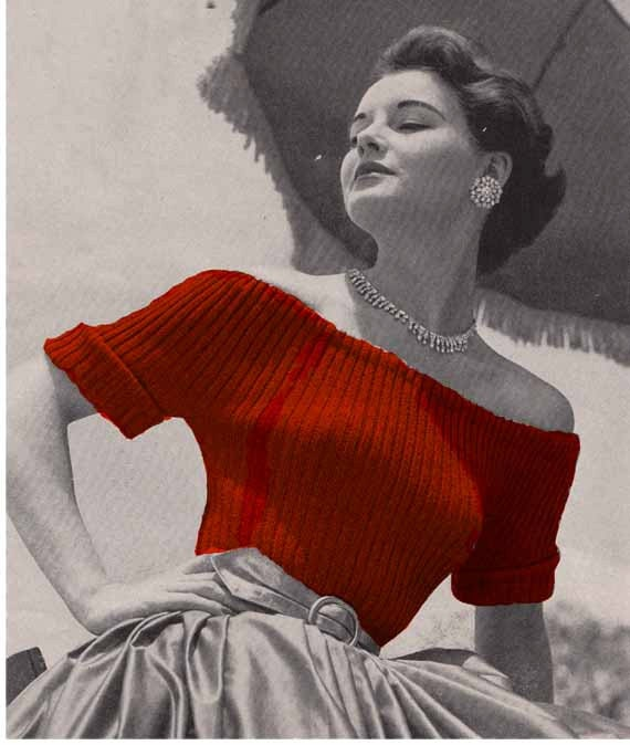 Vogue Vintage Knitting Patterns : 1950s Vogue Evening Sweaters VINTAGE KNIT PATTERN Off The