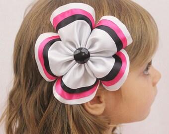 Hot Pink Black White Flower Hair Bow - Large Black White Hot Pink Flower - Layered Flower Hair Clip