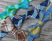 Plaid Bow Ties for Boys : Teal Plaid Tie, Brown Plaid Tie, Navy Plaid Tie, Yellow Plaid Tie