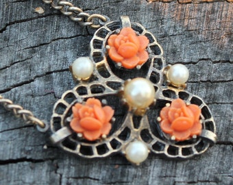 Vintage Coral Rose and Pearl Necklace