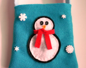 Little Girls Purse/Christmas Bag/ Penguin and Snowflakes Purse