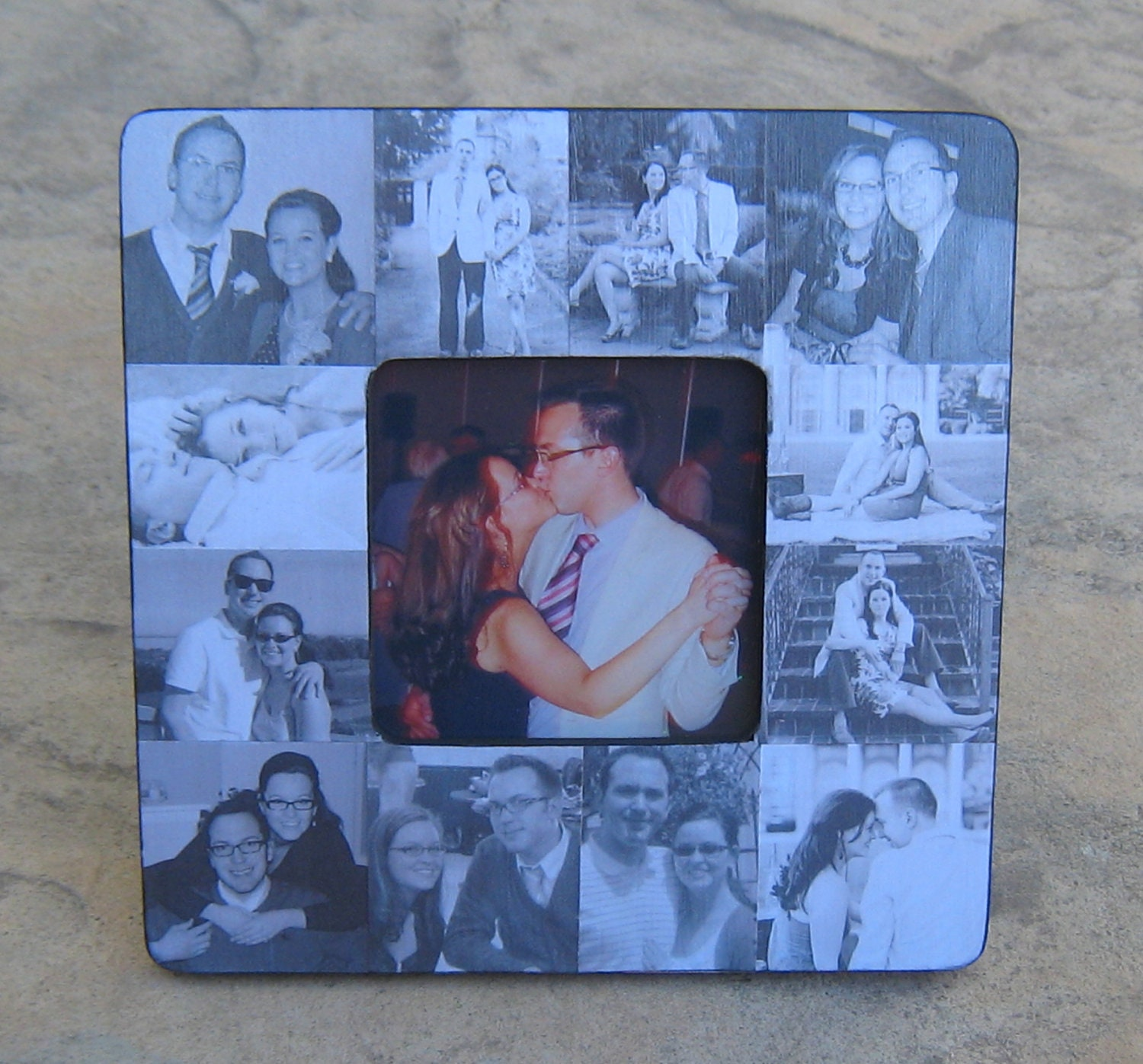 Engagement Collage Picture Frame Custom Wedding Collage