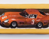 Red Racing Car - canvas print - oil painting - toys - hot rod - gesture painting - colorful - retro - pop art - 80's, 70's, 60's