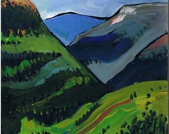 "Colorado Landscape, Original Painting, 8"" x 8"" x 3/4"" Art, Rocky Mountains"
