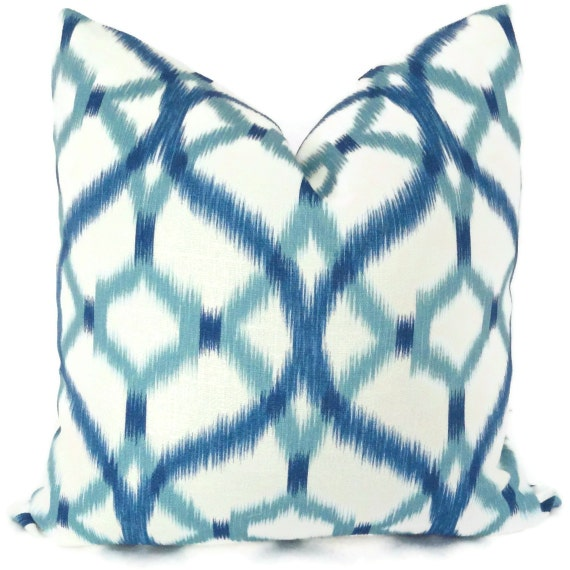 Blue and White Izmir Ikat Decorative Pillow Cover  20x20
