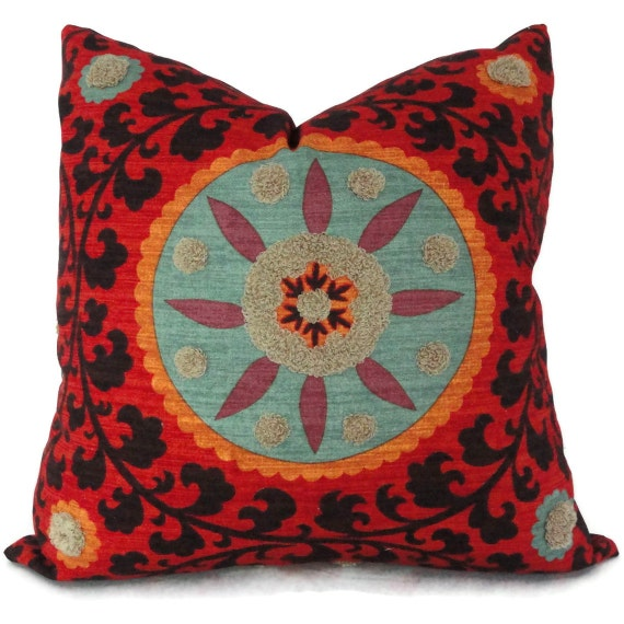 Colorful Tufted Tribal Suzani Decorative Pillow Cover 18x18, 20x20 or 22x22 inch - Accent pillow - Throw Pillow Toss pillow, Pillow cushion