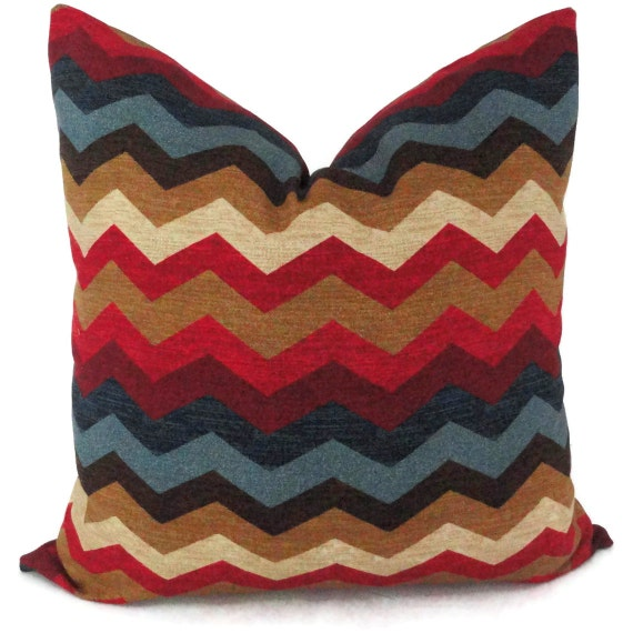 Blue and Red Zig Zag Decorative Pillow Cover 18x18, 20x20, 22x22, 14x20 or 12x24, Throw pillow, Accent Pillow, Toss pillow