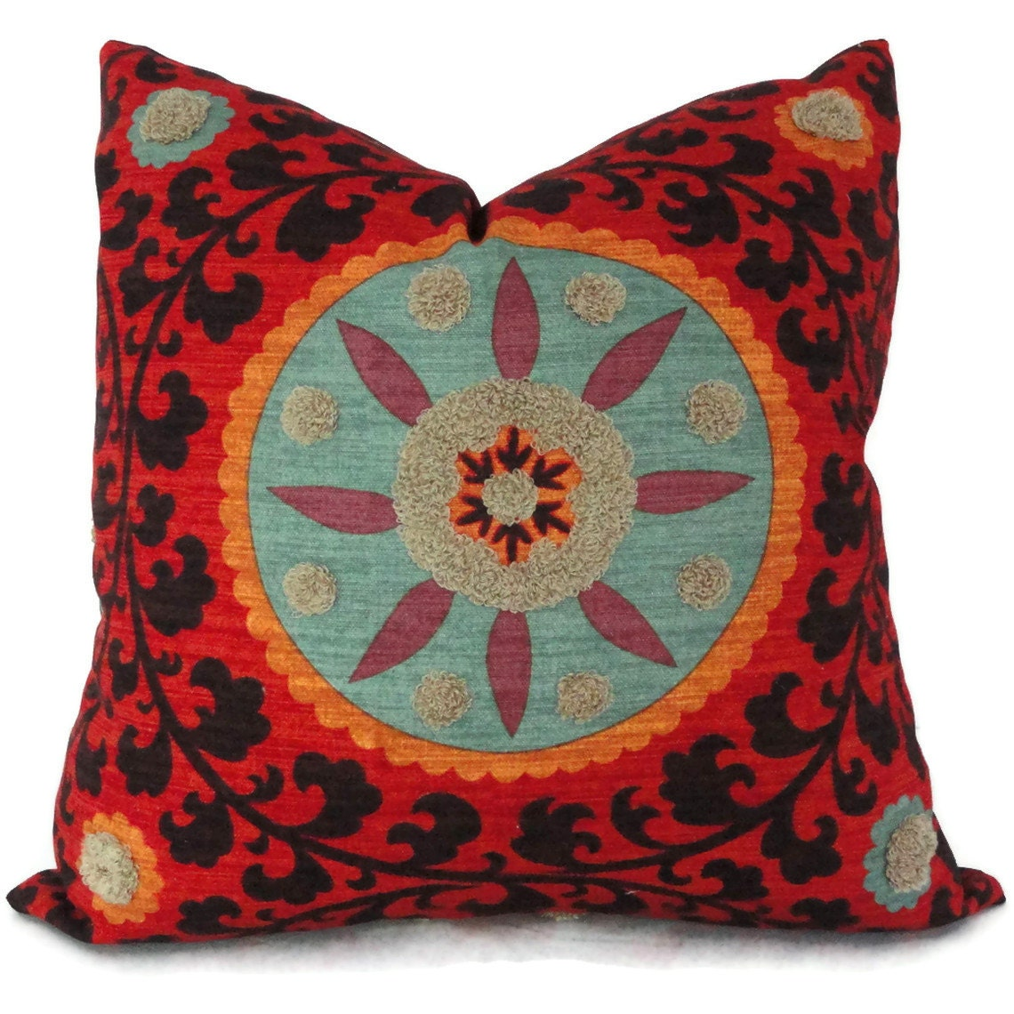 22x22 Decorative Pillows : Colorful Tufted Tribal Suzani Decorative Pillow Cover 18x18