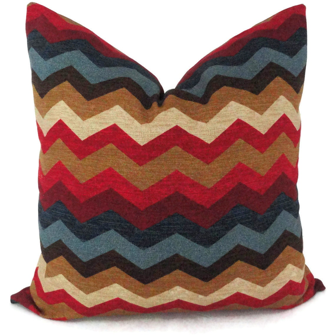 Blue and Red Zig Zag Decorative Pillow Cover 18x18 20x20