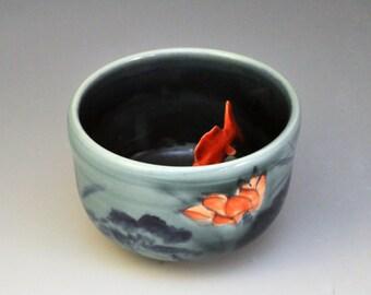 "Koi Tea Bowl ""Lotus Night"""