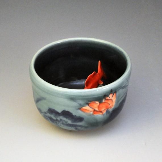 Koi tea bowl lotus night for Koi viewing bowl