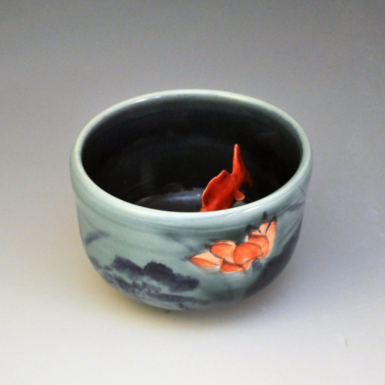 Koi tea bowl lotus night by mochiliu on etsy for Koi fish bowl
